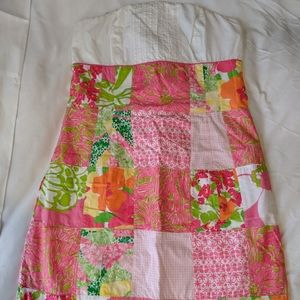 Lilly Pulitzer Strapless Multi Fly Patch Dress